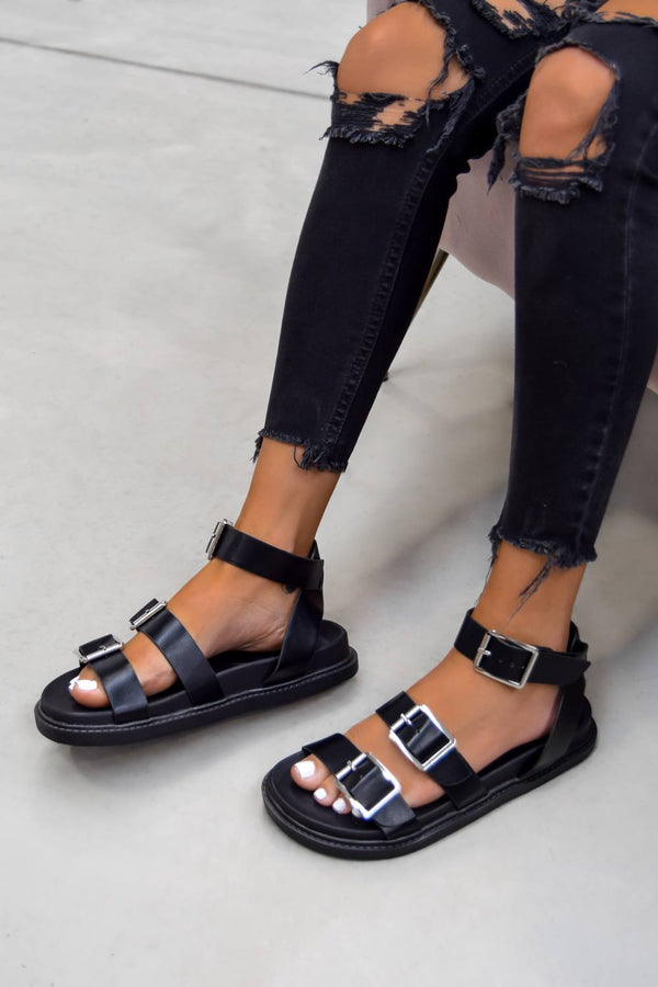 SYSTEM Gladiator Buckle Sandals - Black - 1