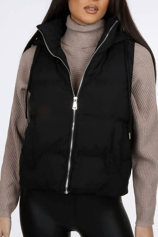 Short Hooded Zip Up Puffer Gilet - Black -1