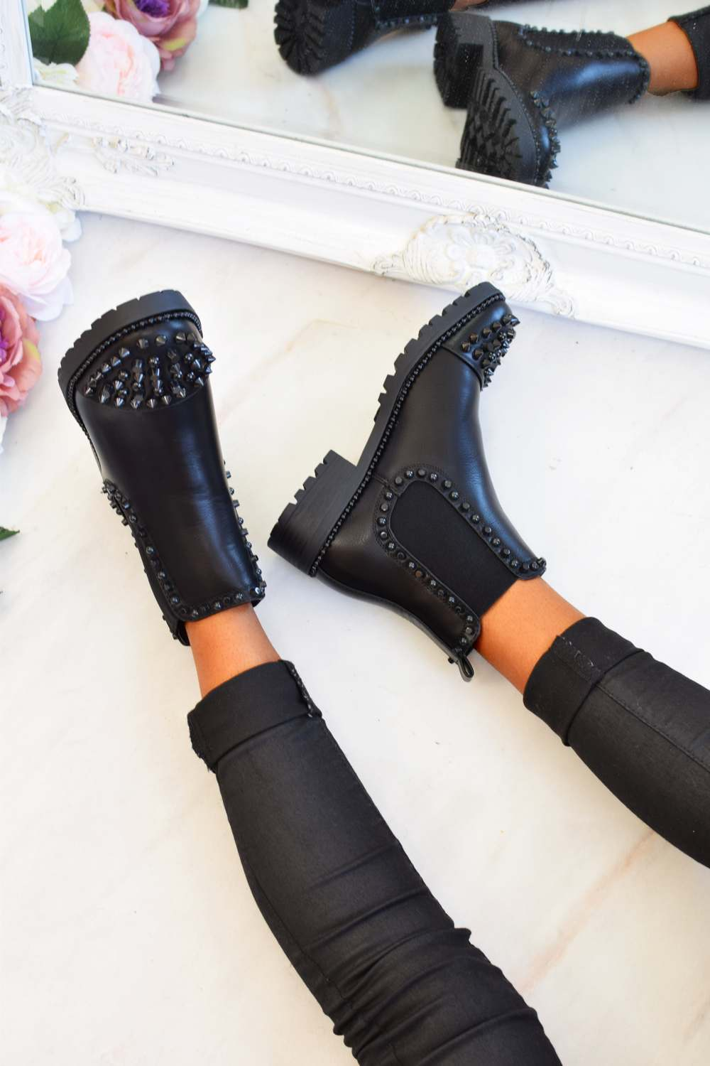 Spike Studded Chelsea Ankle Boots - Black PU - 2