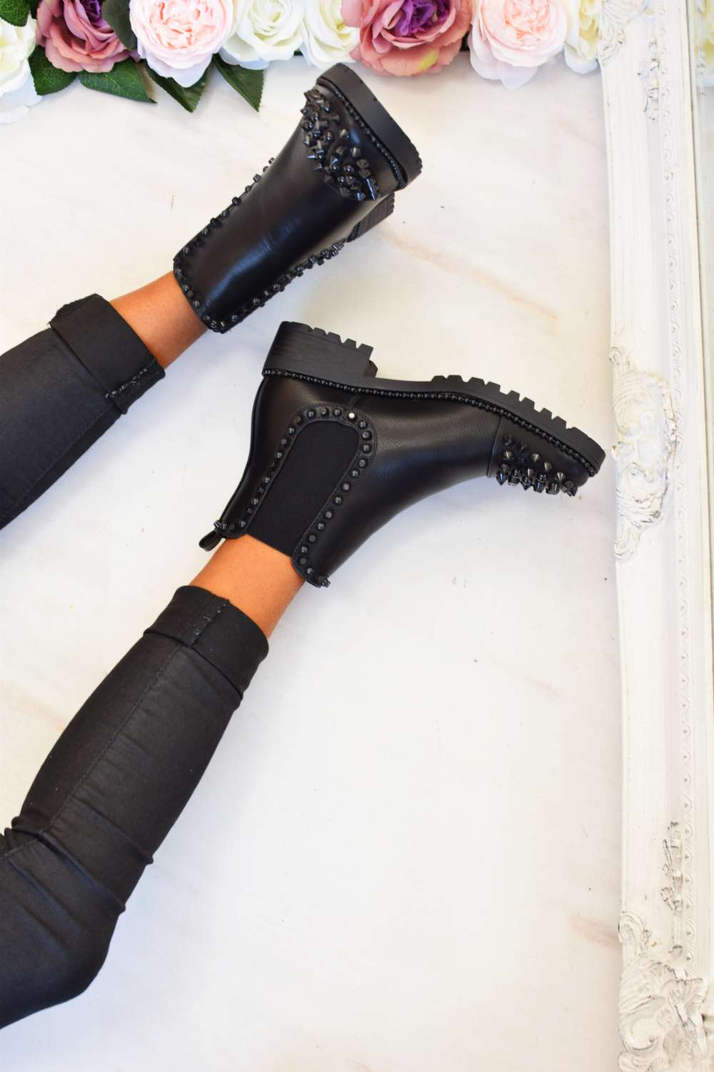 Spike Studded Chelsea Ankle Boots - Black PU - 1