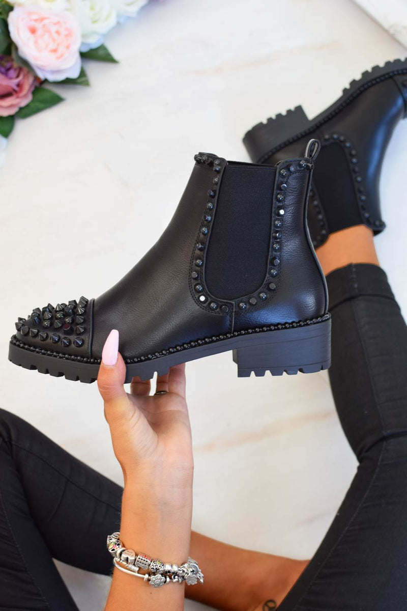 Spike Studded Chelsea Ankle Boots - Black PU