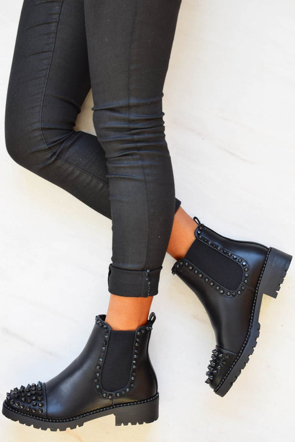 Spike Studded Chelsea Ankle Boots - Black PU - 3