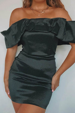 Statement Off Shoulder Taffeta Mini Dress - Black