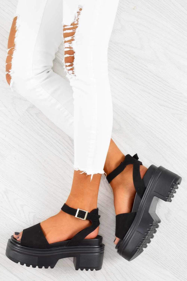 Step It Women's Black Chunky Platform Block Heel Sandals - Suede