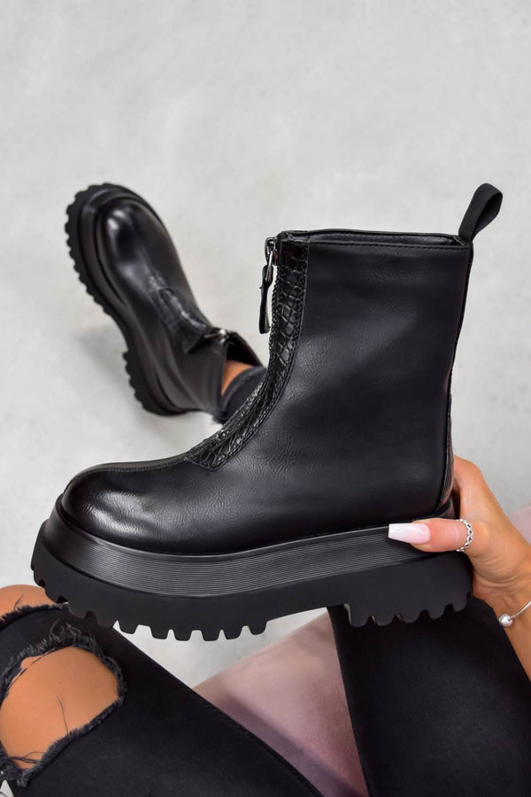 STOMP Zip Front Ankle Boots - Black PU