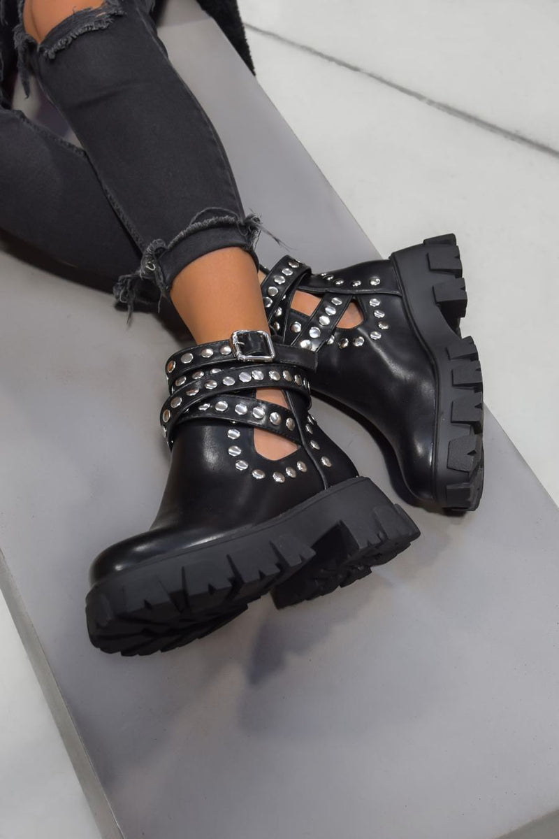 TAKE IT Studded Cut Out Buckle Ankle Boots - Black - 1