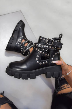 TAKE IT Studded Cut Out Buckle Ankle Boots - Black