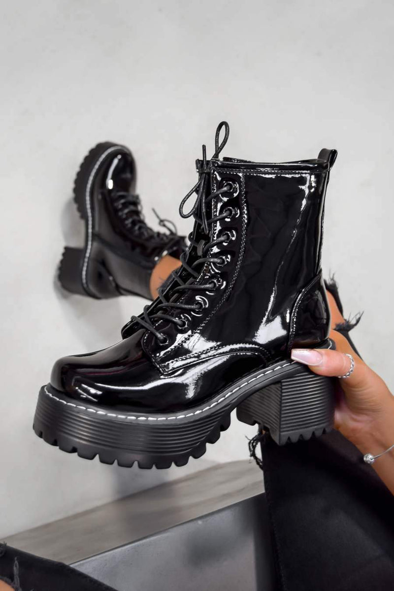 TAKE UP Chunky Platform Ankle Boots - Black Patent