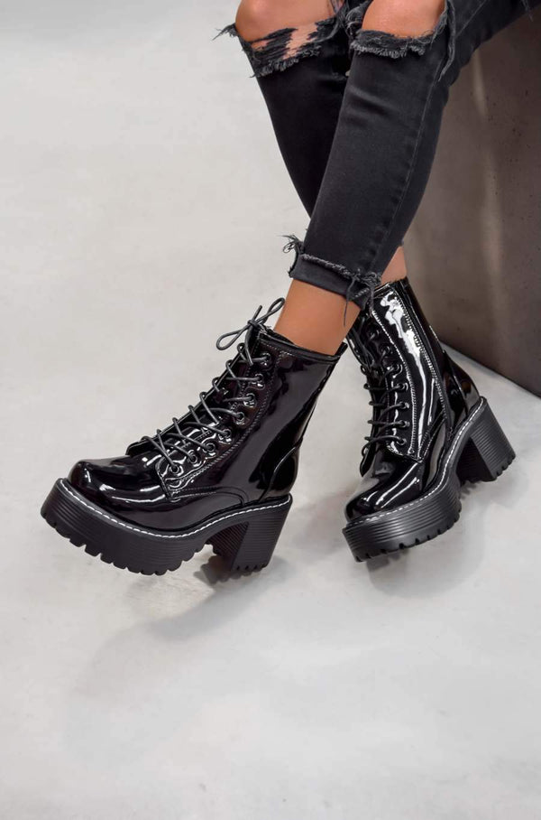TAKE UP Chunky Platform Ankle Boots - Black Patent - 1