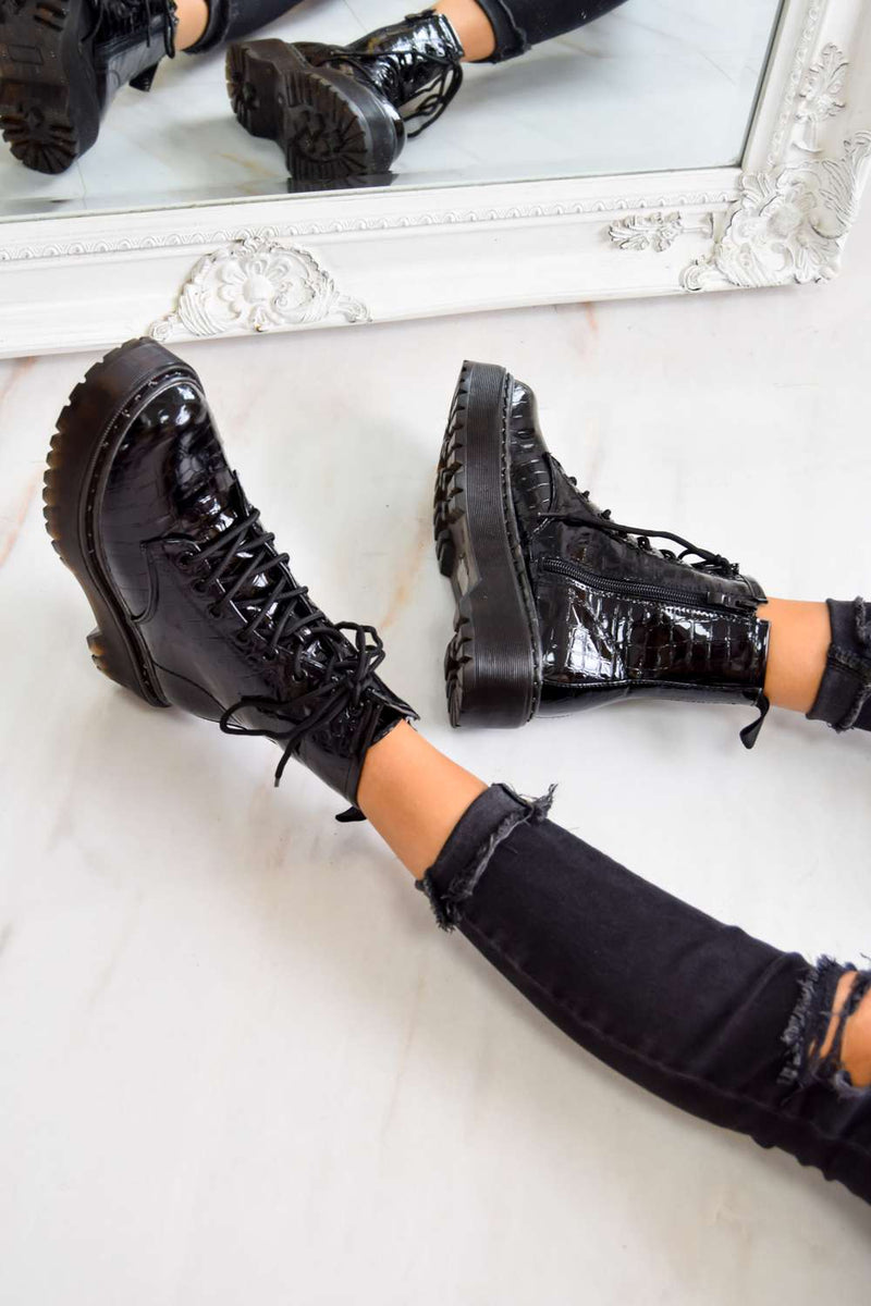 TAKE IT Chunky Platform Lace Up Ankle Boots - Black Croc