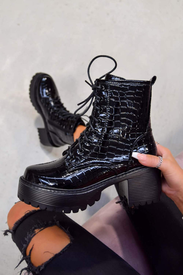 TAKE UP Chunky Platform Ankle Boots - Black Croc