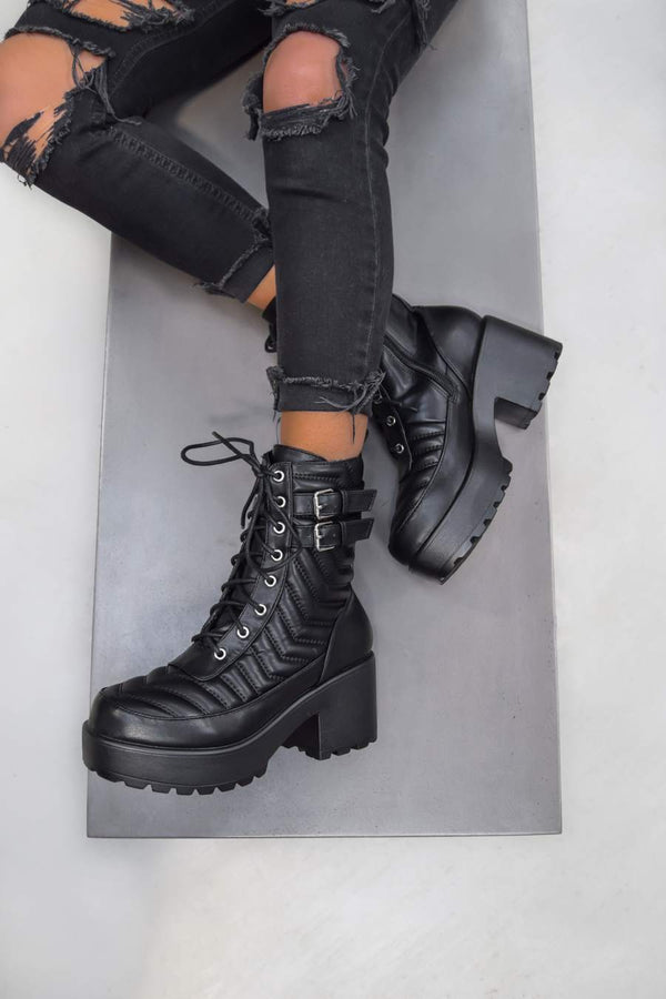 TARA Chunky Platform Heel Lace up Boots - Black - 1