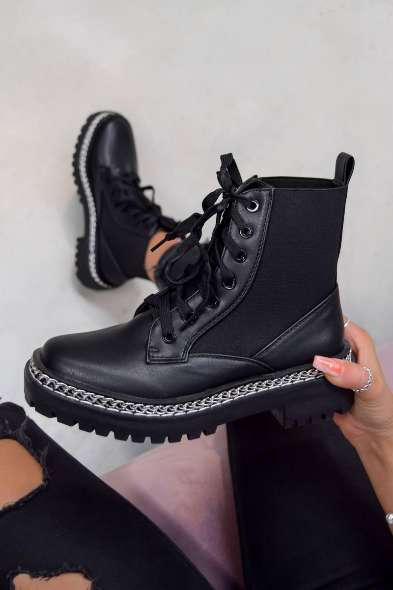 TELL IT Chain Lace Up Ankle Boots - Black PU