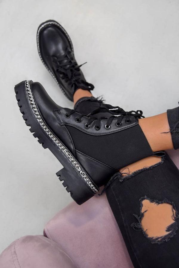 TELL IT Chain Lace Up Ankle Boots - Black PU - 1
