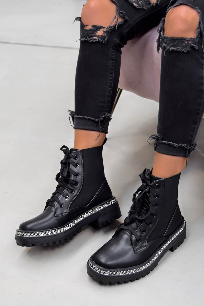 TELL IT Chain Lace Up Ankle Boots - Black PU - 2