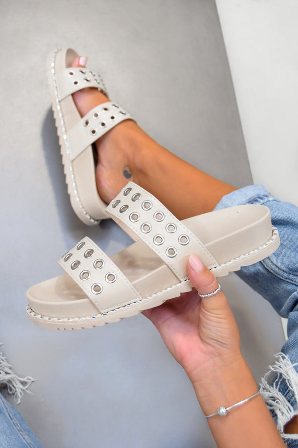 TELL ME Chunky Eyelet Sandals - Beige