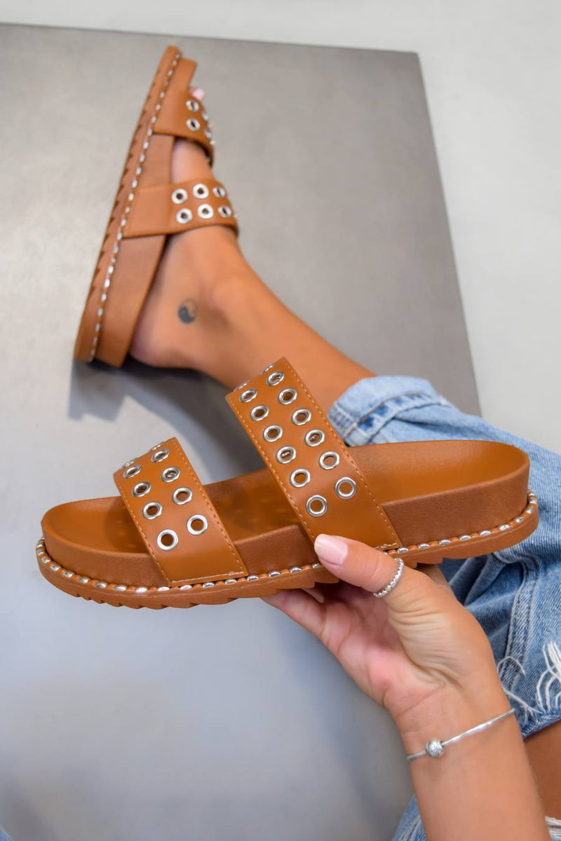 TELL ME Chunky Eyelet Sandals - Camel - 1