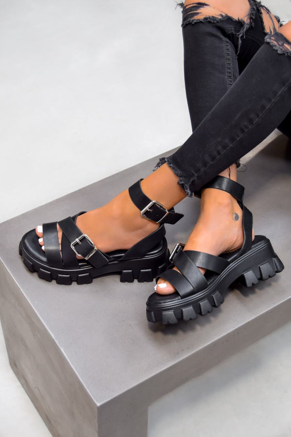 THUNDER Chunky Buckle Gladiator Sandals - Black