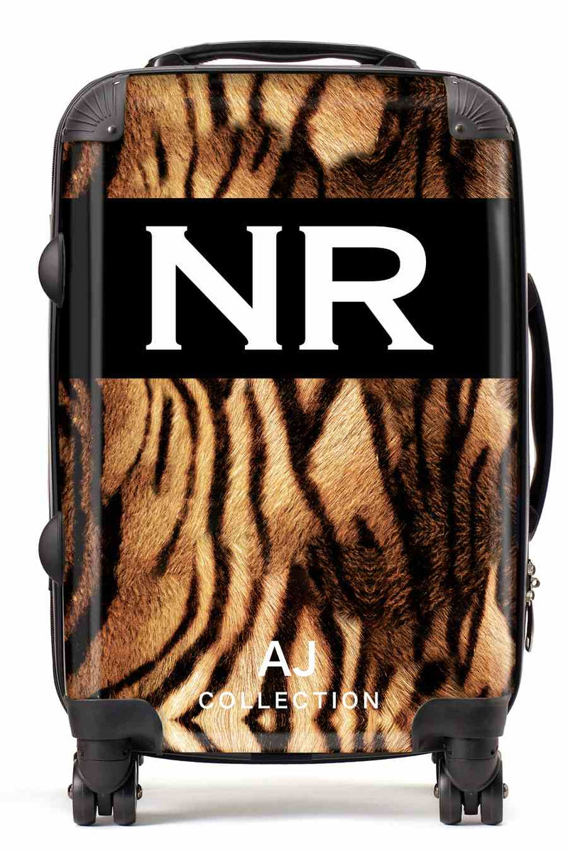 Personalised Initial Suitcase - Tiger Print - Small Cabin Luggage