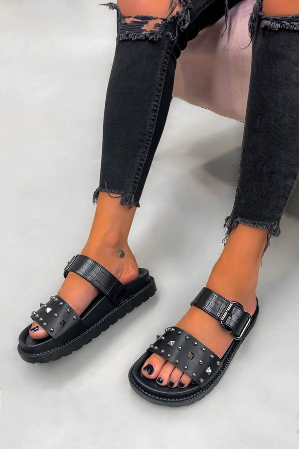 TOLD YOU Chunky Studded Buckle Sandals - Black Croc - 1