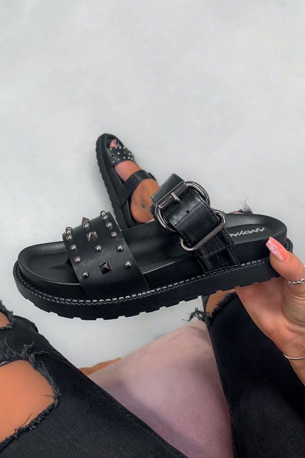 TOLD YOU Chunky Studded Buckle Sandals - Black Croc