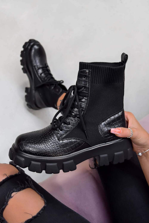 TOUGH LOVE Chunky Sock Fit Ankle Boots - Black Croc