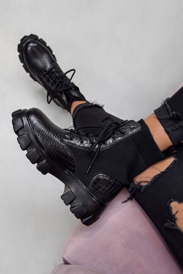 TOUGH LOVE Chunky Sock Fit Ankle Boots - Black Croc - 1