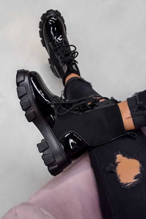 TOUGH LOVE Chunky Sock Fit Ankle Boots - Black PU - 1