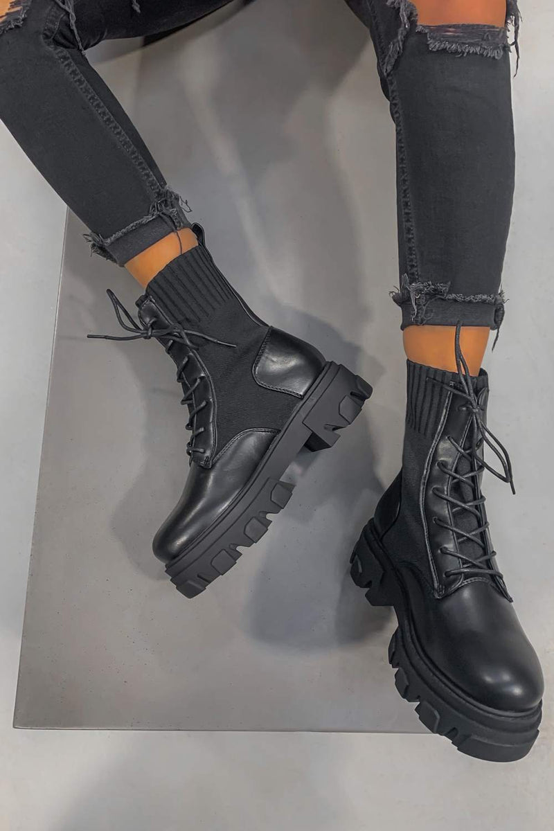 TOUGH LUCK Chunky Sock Fit Ankle Boots - Black PU