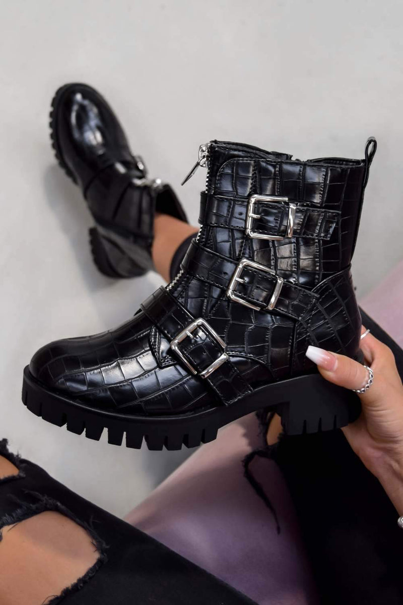 TRACKTION  Zip Up Buckle Ankle Boots - Black Croc