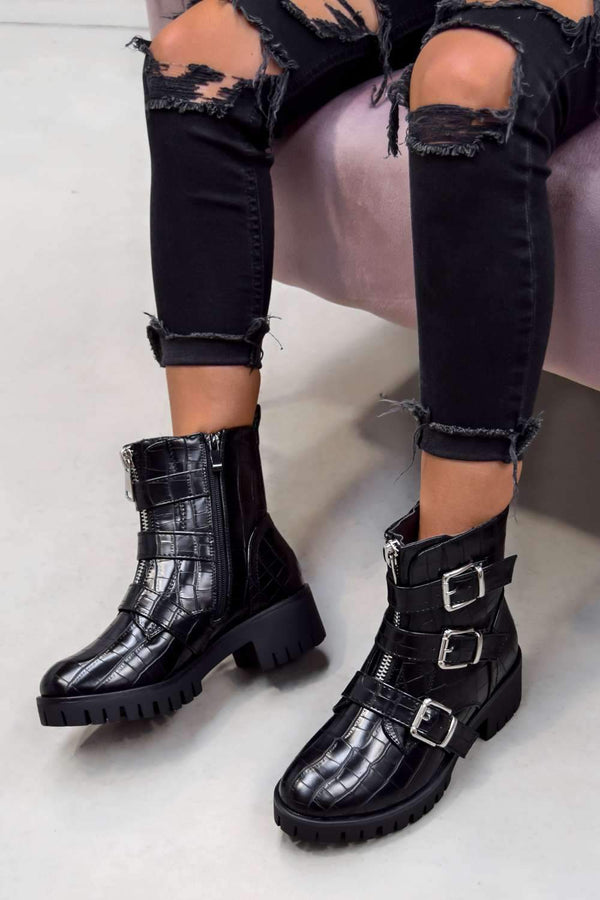 TRACKTION  Zip Up Buckle Ankle Boots - Black Croc - 2