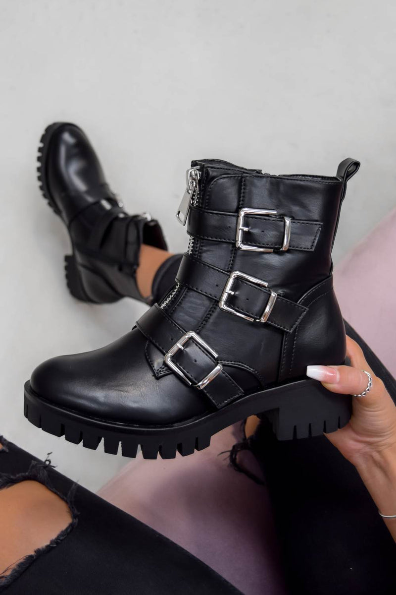 TRACKTION  Zip Up Buckle Ankle Boots - Black PU