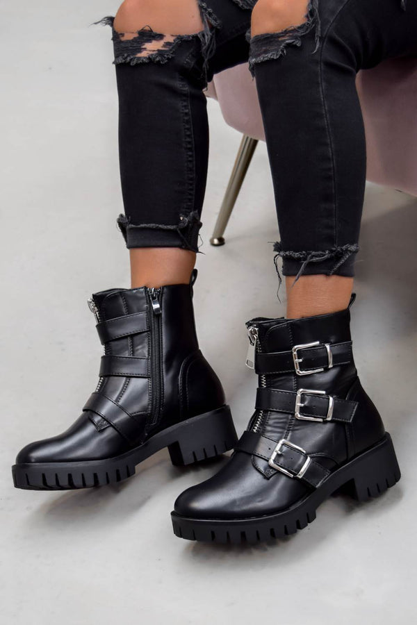 TRACKTION  Zip Up Buckle Ankle Boots - Black PU - 1