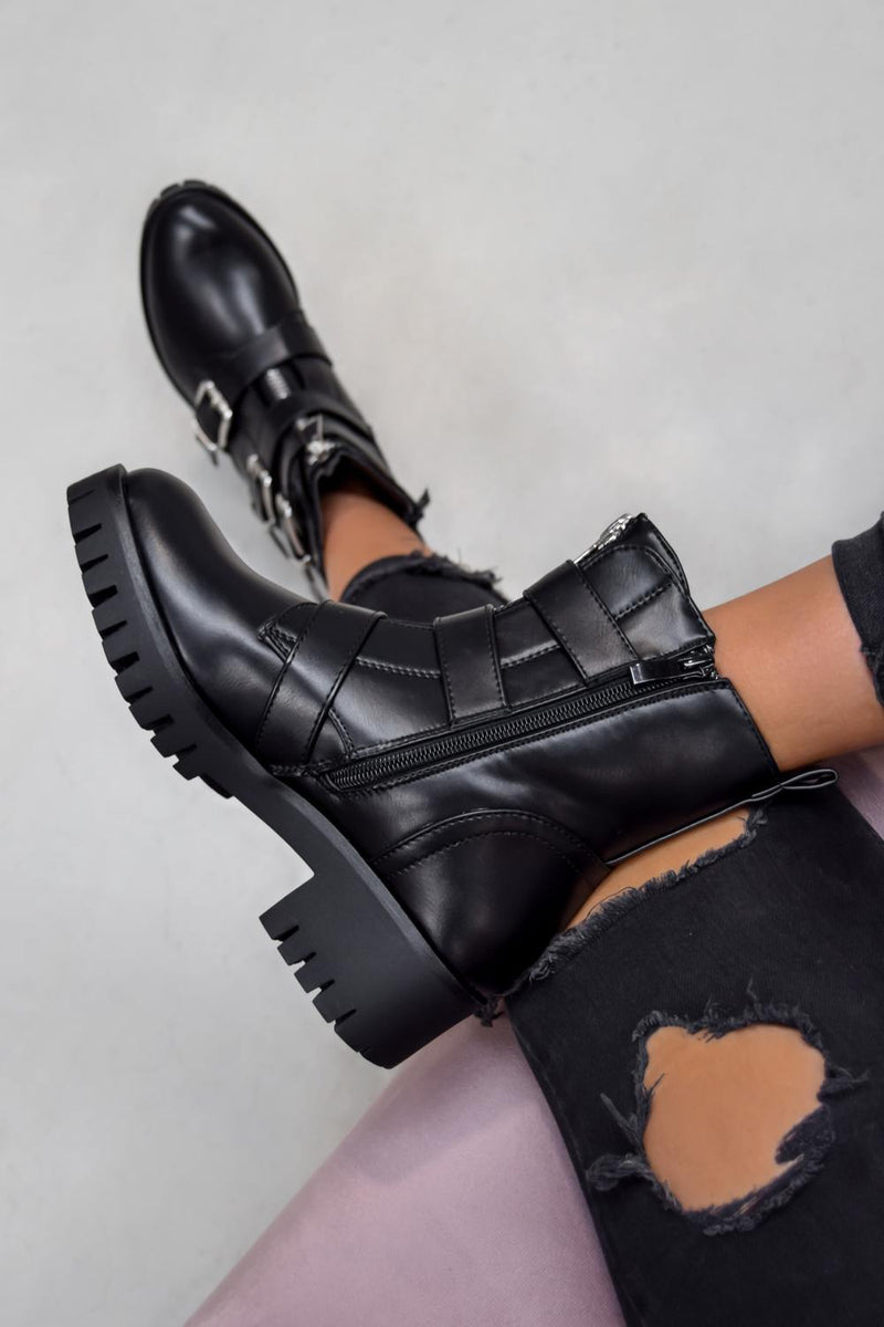 TRACKTION  Zip Up Buckle Ankle Boots - Black PU - 2