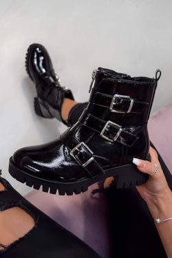 TRACKTION  Zip Up Buckle Ankle Boots - Black Patent