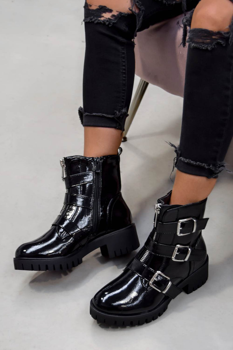 TRACKTION  Zip Up Buckle Ankle Boots - Black Patent - 2