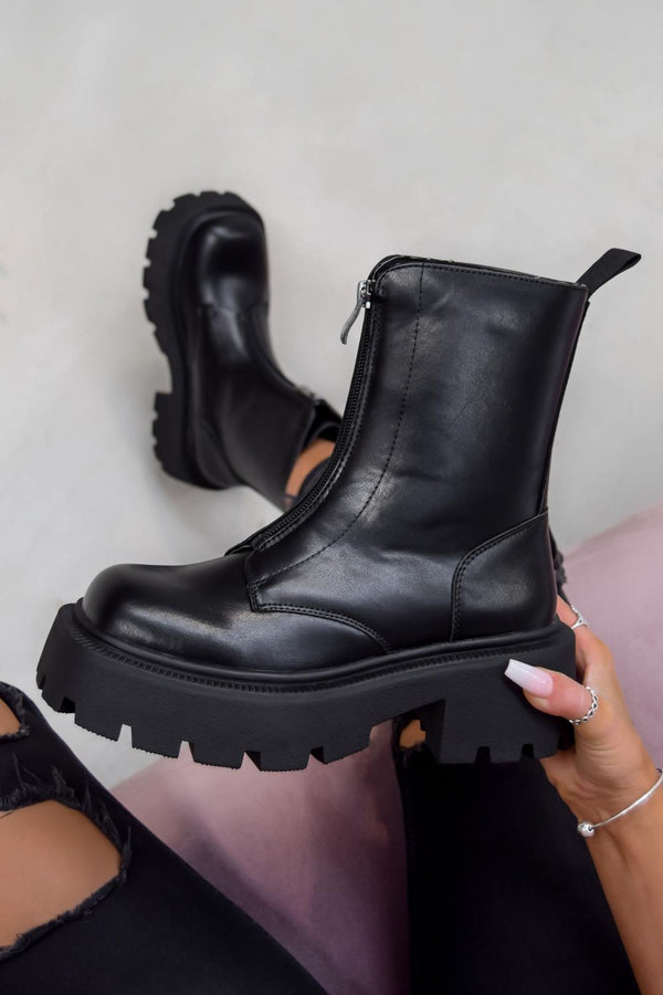 TRADER Chunky Lace Up Platform Ankle Boots - Black PU