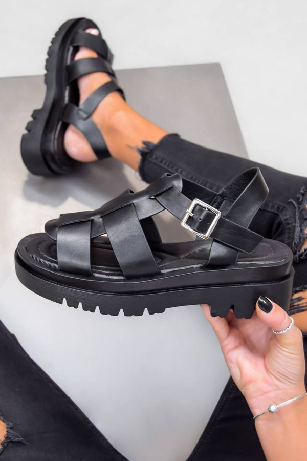 TRINI Chunky Buckle Sandals - Black