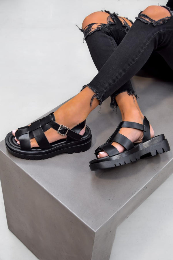 TRINI Chunky Buckle Sandals - Black - 1