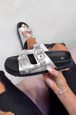 TURN OUT Western Buckle Studded Sandals - Silver