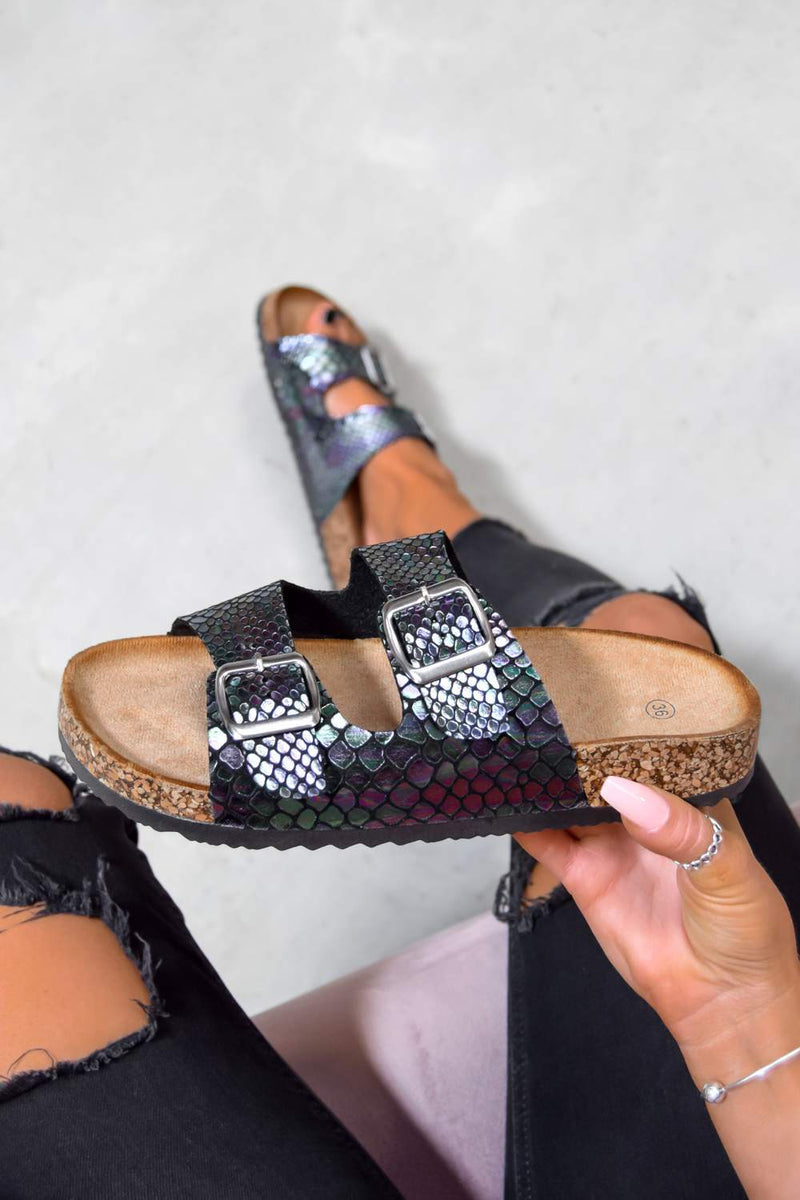 TURN UP Buckle Sandals - Multi Snake Print