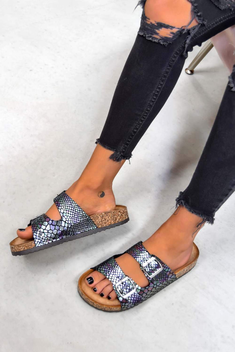 TURN UP Buckle Sandals - Multi Snake Print - 1