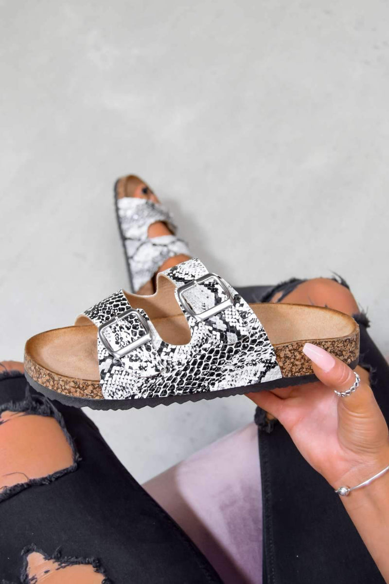 TURN UP Buckle Sandals - Snake Print