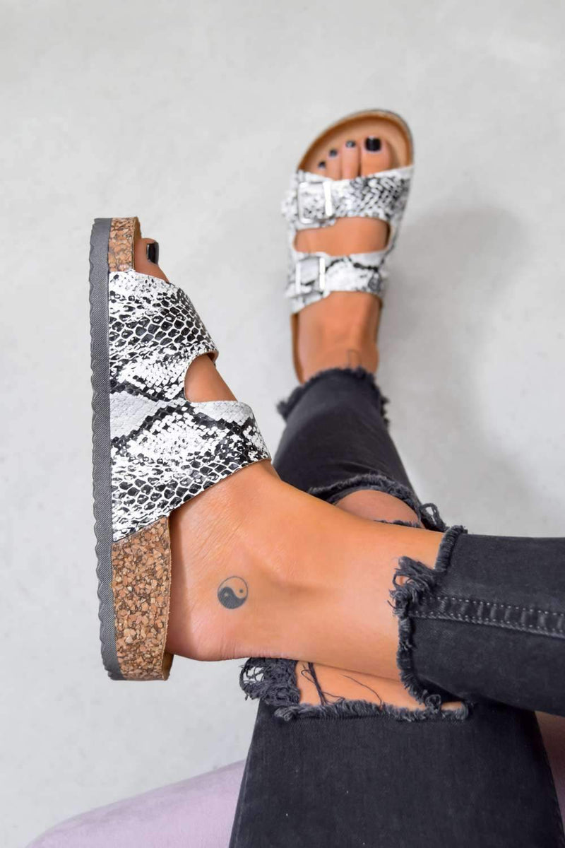 TURN UP Buckle Sandals - Snake Print - 1