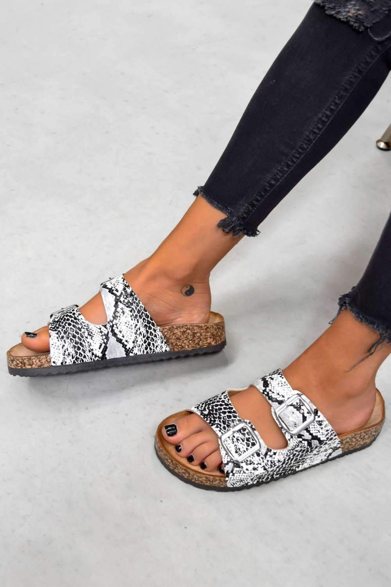 TURN UP Buckle Sandals - Snake Print - 2