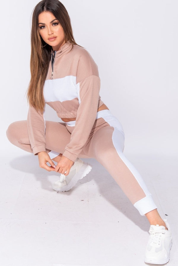 TURN OUT Zip Detail Tracksuit Set - Nude