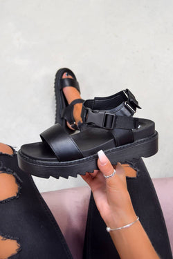 TURN OVER Chunky Platform Buckle Sandals - Black