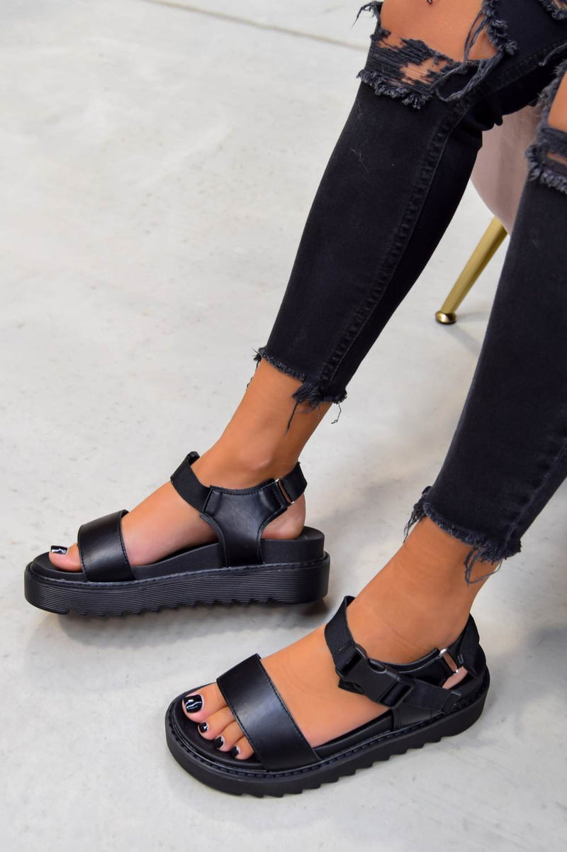 TURN OVER Chunky Platform Buckle Sandals - Black - 2