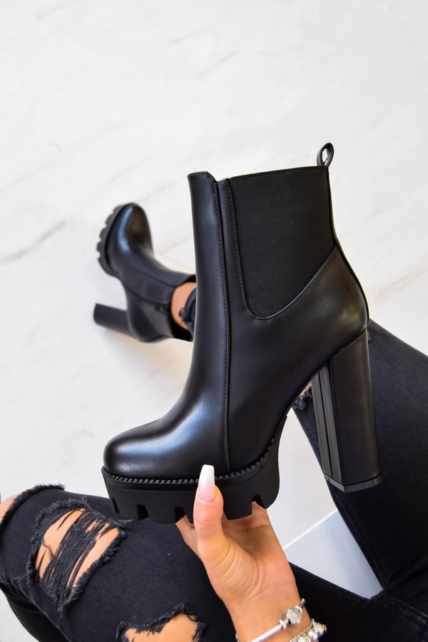 TURN UP Chunky Platform Cleated Sole Ankle Boots - Black PU