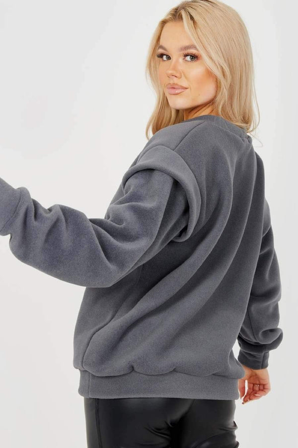 Thick Fleece Sweatshirt - charcoal - 1